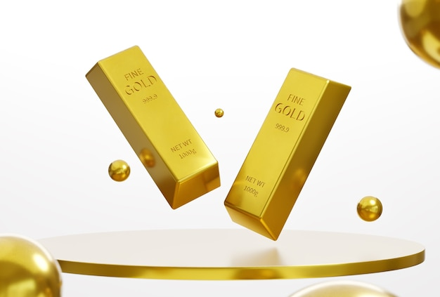 Gold bar on the platform on a white background