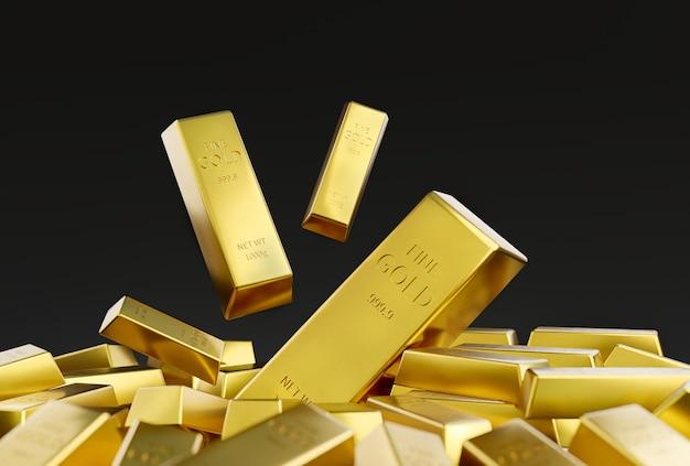 Gold bar stack on black background wealth concept