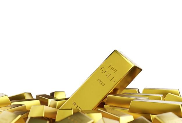 Стек золотой слиток, изолированные на белом фоне