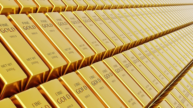Gold bar in stock market.