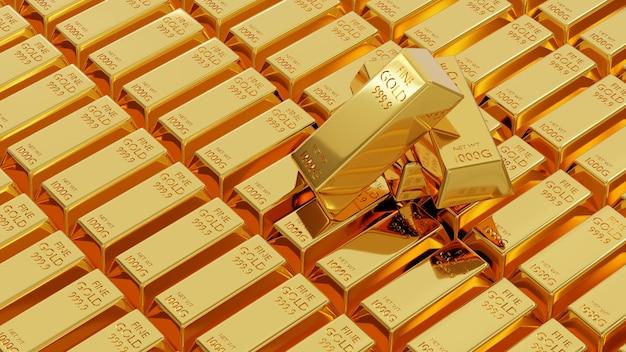 Золотой слиток весом золотых слитков 1 кг фон выстроился много 3d-рендеринга