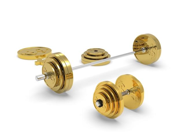 ゴールドのバーベルダンベルとドル記号の付いたコイン3dレンダリング