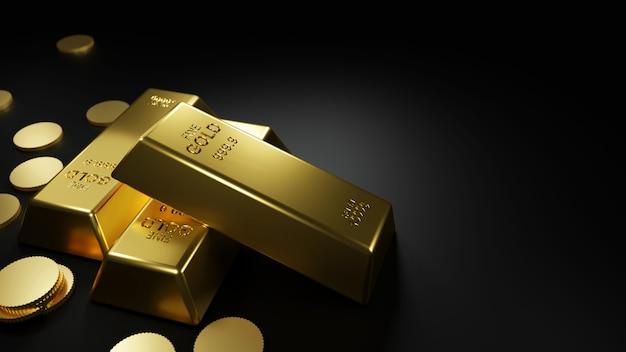 Золотые слитки и монеты на черном столе 3d визуализации