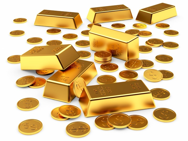 Золотые слитки и долларовые монеты