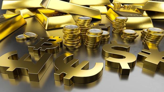Золотые слитки и символы золотой валюты. фон фондовой биржи, банковское дело или финансовая концепция.