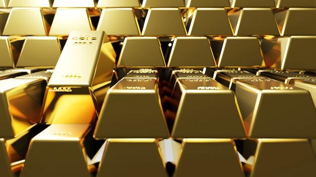 Золотые слитки фон 3d рендера