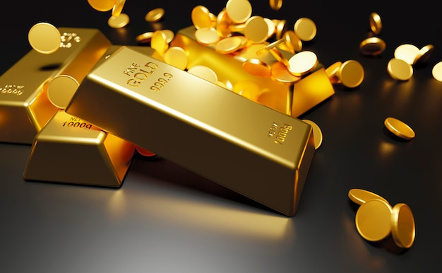 Gold bars and coins on black wall 3d render
