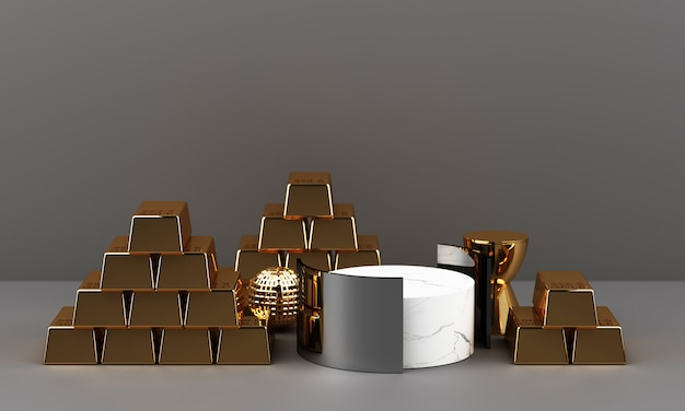Gold bars coins and riches with marble texture geometric 3d rendering