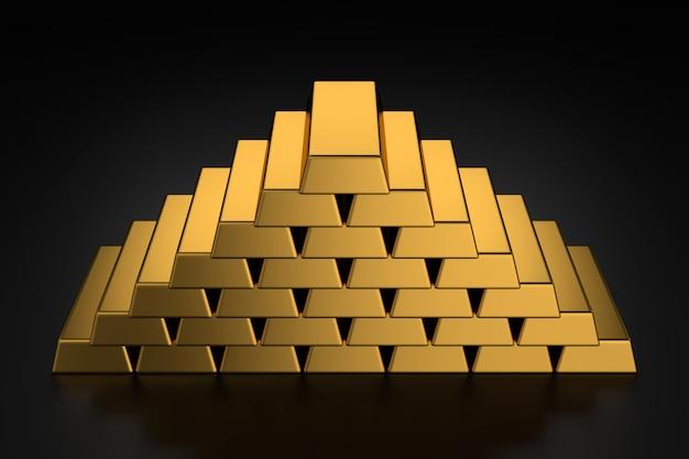 Золотые слитки в форме пирамиды на черном