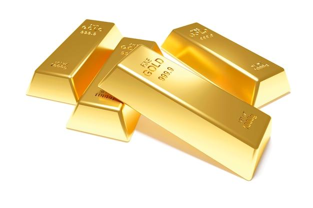 Золотые слитки изолированы. 3d визуализация
