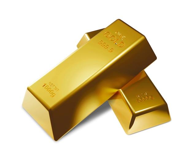 Золотые слитки на белом фоне 3d визуализации