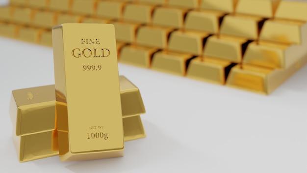 Золотые слитки на белом фоне, за которыми уложено много золотых слитков - 3d визуализация.