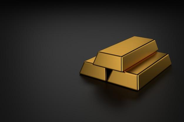 Золотые слитки на черном фоне