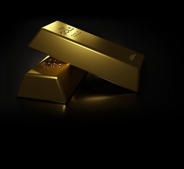 Золотые слитки на черном столе 3d визуализации