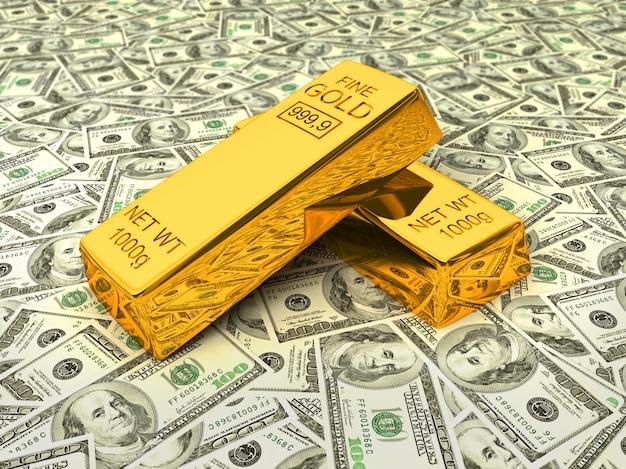 Золотые слитки на долларах