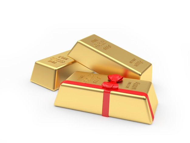 Gold bars and one with a gift ribbon