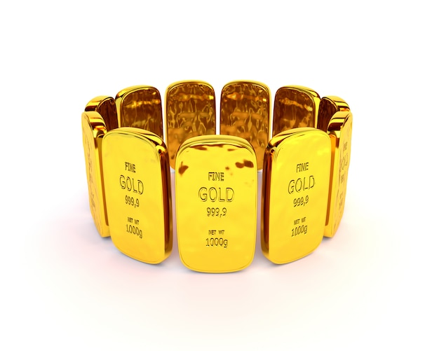 Gold bars in a stack on white background