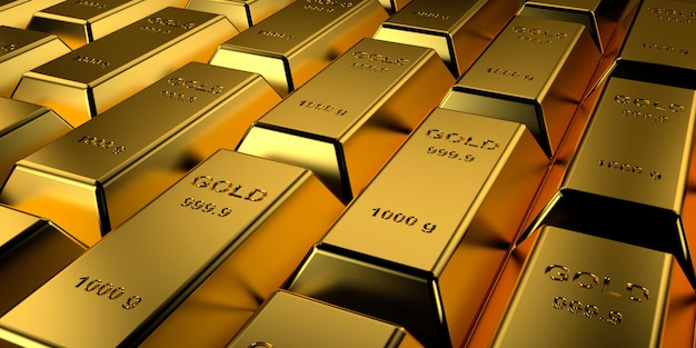 Gold bars stacked. 3d rendering.