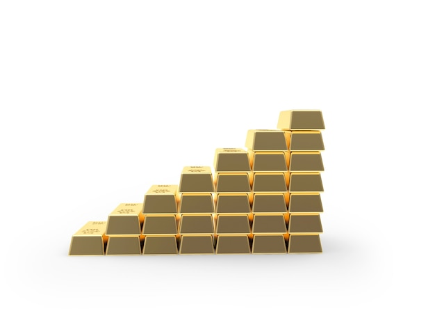 Gold bars stacked as a graph