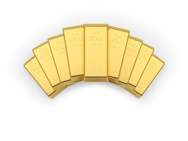 Gold bars stacked in a fan. 3d