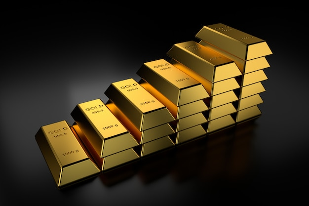 Gold bars stacked
