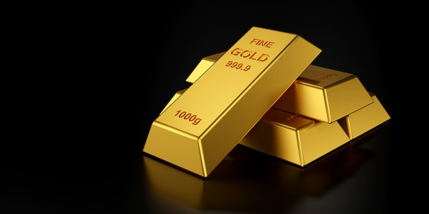Gold bars for website banner. 3d rendering of gold bars.