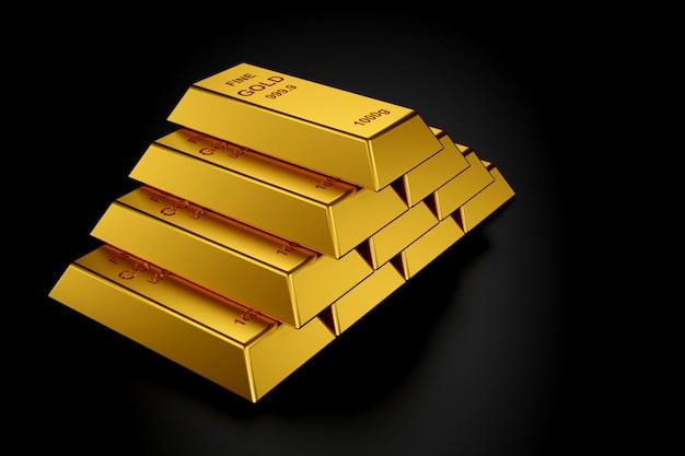 Gold bars for website banner. 3d rendering of gold bars.