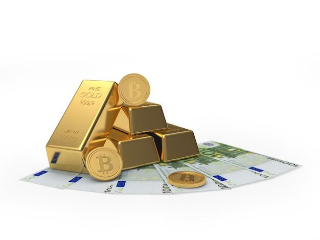 Золотые слитки с биткойнами на банкнотах евро