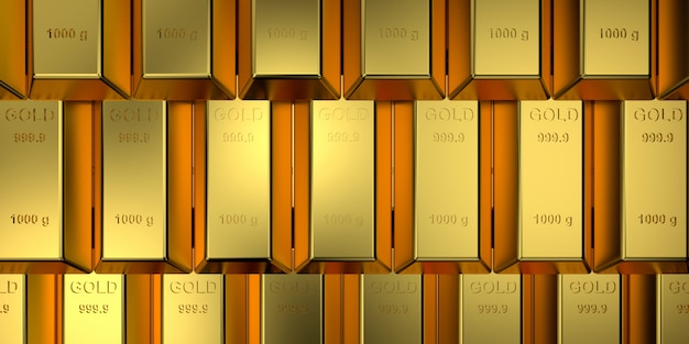 Gold bars with the web banner concept. 3d rendering.