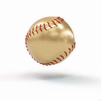 Gold baseball ball on white. concept of victory and success. 3d render. nobody around.