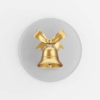 활과 골드 벨 아이콘입니다. 3d 렌더링 회색 라운드 키 버튼, 인터페이스 ui ux 요소.