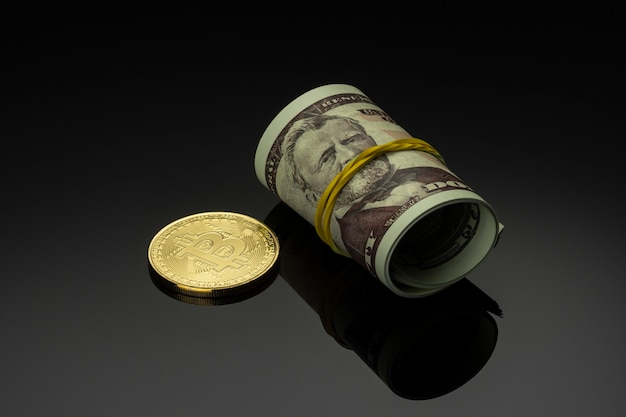 Gold bitcoin and american dollars. stock market concept.