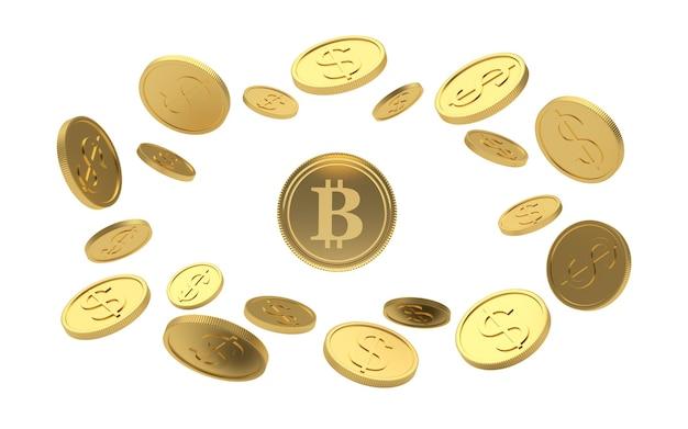 Gold bitcoin coin in a circle of dollar coins