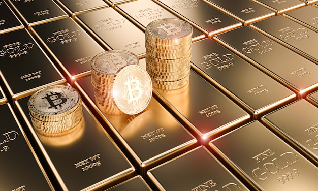 Gold bitcoin coins on classic ingots, concept of cryptocurrency and economy.