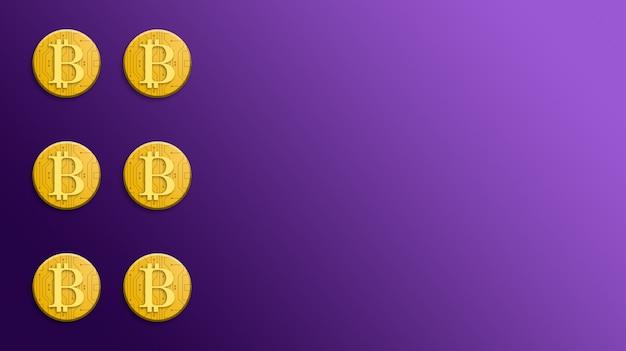 보라색 배경 3d에 골드 bitcoin 동전