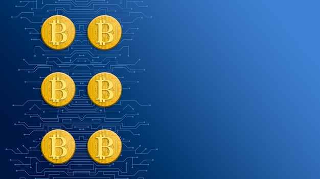 기술 블루 3d 배경에 골드 bitcoin 동전
