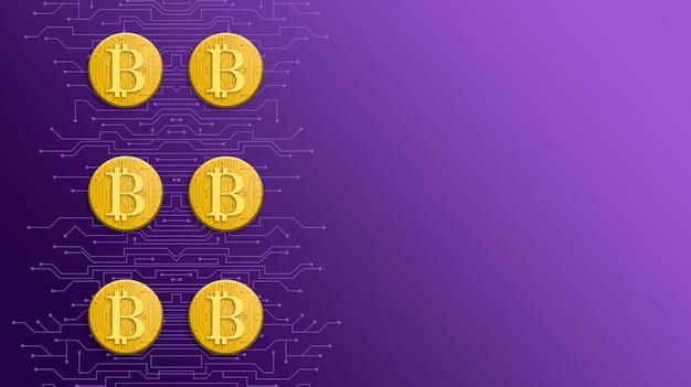 기술 보라색 3d 배경에 골드 bitcoin 동전