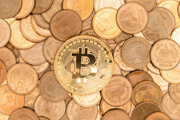 Gold bitcoin, cryptocurrency on coins