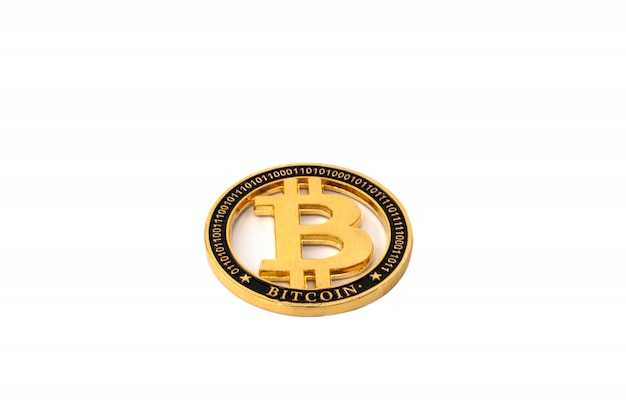 Gold bitcoin physical isolated on white background