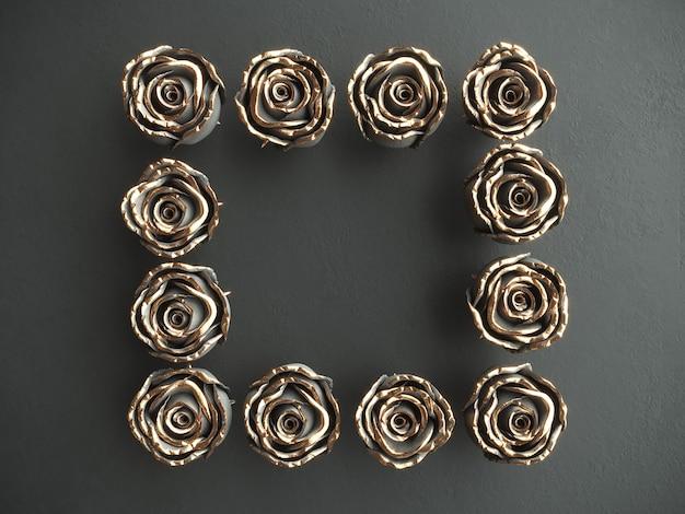 Gold black flower black stone rose on a black background . 3d render