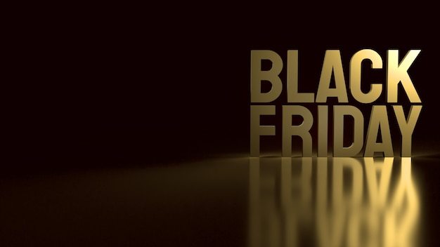 The gold black friday text on black for holiday shopping  3d rendering.