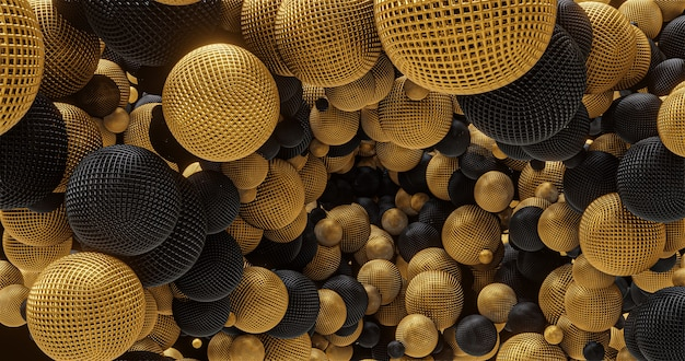 Gold and black geometric shapes, spheres. for logo and title placement, event, concert,presentation,site. abstract 4k background