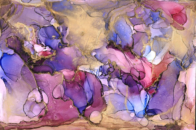 Gold, blue, pink and purple ink marble abstract painting background