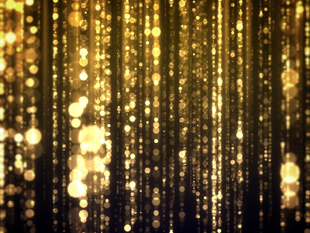 Золотой боке падающий гламур абстрактного фона.