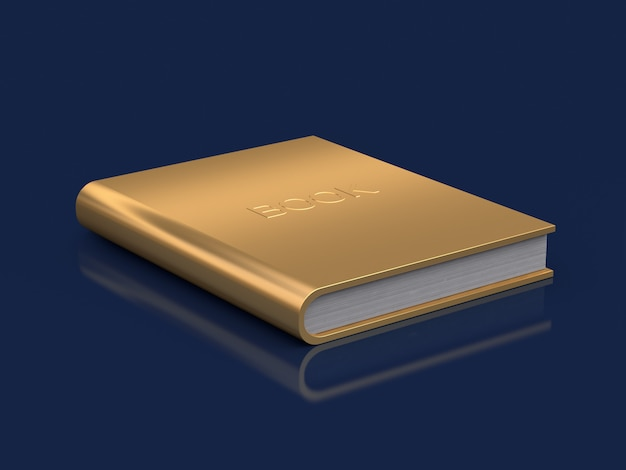 Gold book on floor reflection 3d rendering