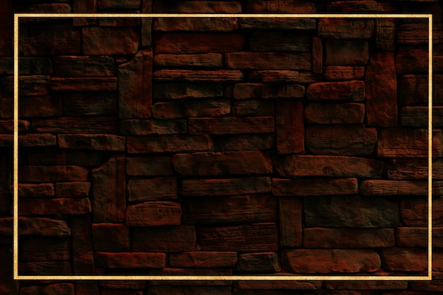 Gold border and hard granite wall ancient stone exterior texture surface background