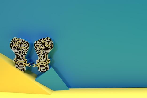 Золото сломанной концепции свободы наручников, дизайн иллюстрации 3d визуализации.