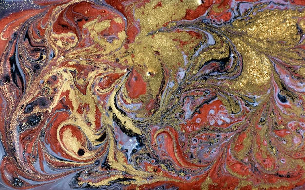 Gold, bronze and black marbling background. golden marble liquid texture.