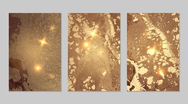 金色和棕色背景,大理石纹理,酒精墨水流体艺术抽象向量集