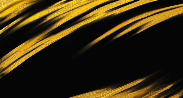 Gold brush stroke on black background